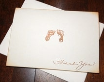 Footprints Gender Neutral Baby Shower Thank You Cards - Vintage Baby Shower Thank You Cards - Footprints Thank You - Baby Thank You Cards