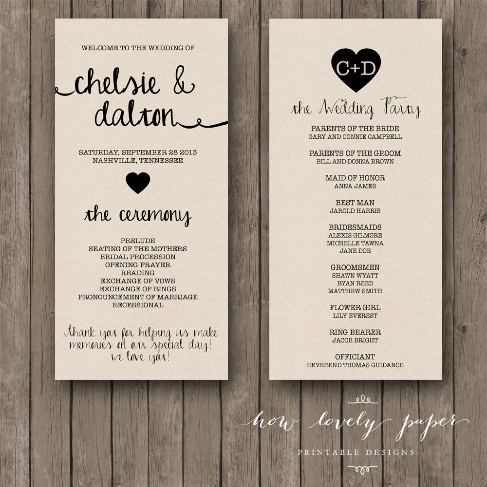 Wedding Programs: Printable Wedding Program The Ella Collection By