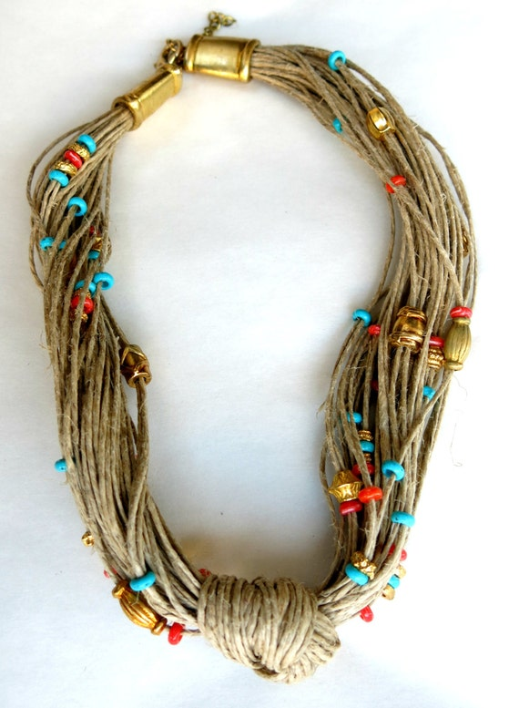Bib Boho Necklace, handmade jewellery, hippie necklace