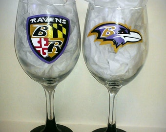 Baltimore Ravens Painted Wine Glasses