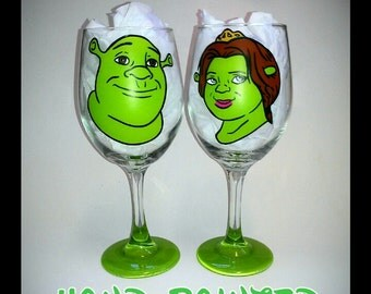 Custom Shrek Hand Painted Glassware