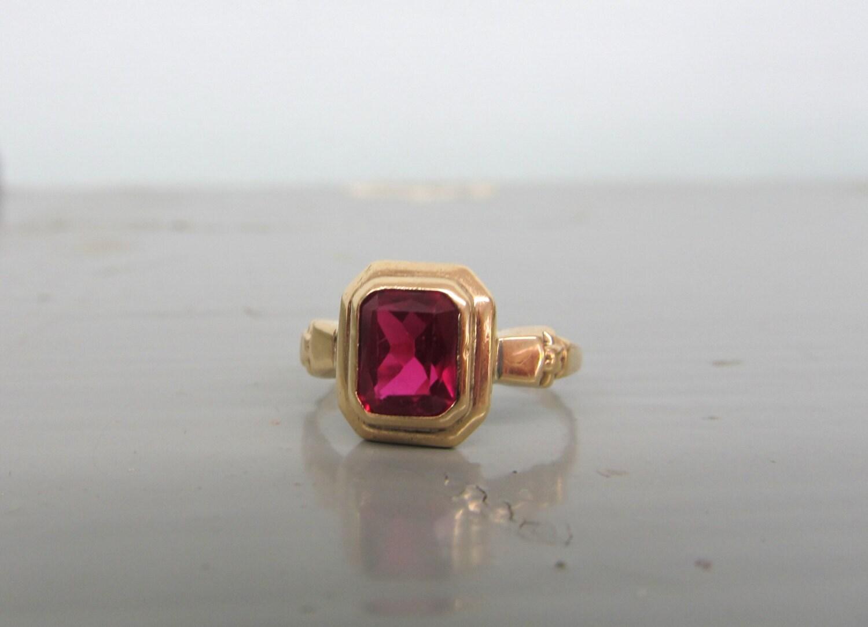 antique ruby ring deco ring 10k gold psco ring vintage