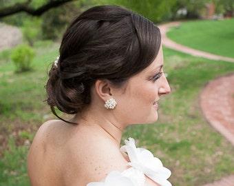 Bridal Pearl Cluster Earrings, bridal stud earrings, wedding, bride, elegant cluster earrings, KATYA cluster earrings