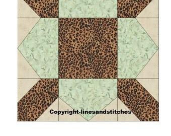 Jungle Fever Paper Pieced Quilt Block Pattern (PDF)