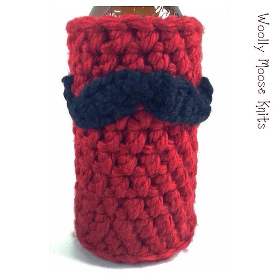 Crochet Patterns For Koozies : Items similar to Crochet Mustache Bottle Koozie, Crochet ...