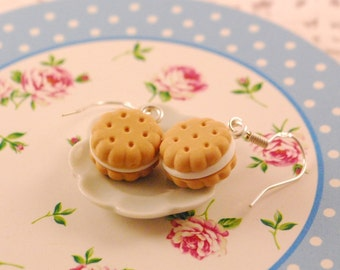 cream cookies dangle earrings - food jewelry