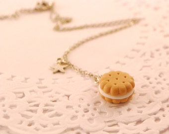 cream cookies necklace - food jewelry