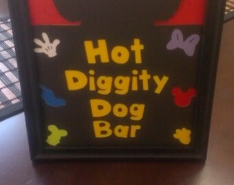 Mickey Mouse Birthday Party-Food Signs- Hot Diggity Dog Bar