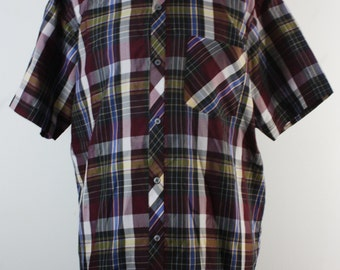 Checkered blouse with short sleeve