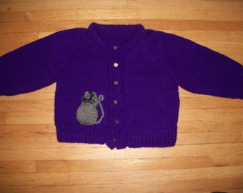 Hand-Knitted Purple Children's Cat Sweater (size: 5-6)