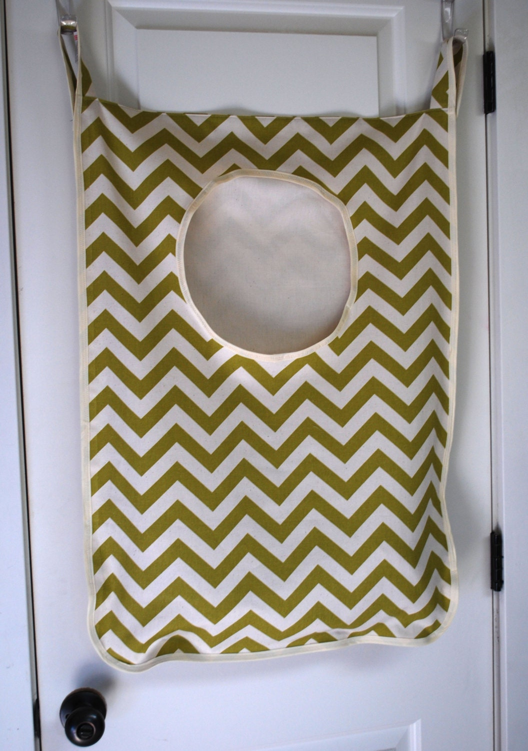 laundry bag her hanginggreen chevron fabric by