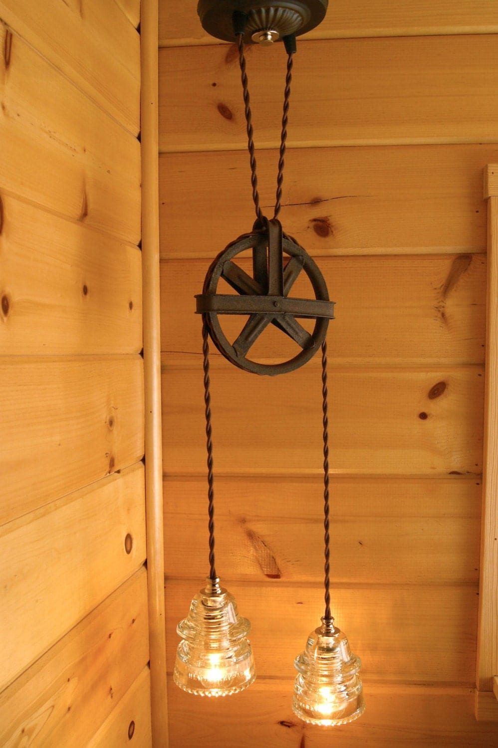 Industrial Chic Vintage Pulley Amp Insulator Hanging Light