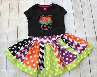 halloween skirt chevron polka dot skirt ONLY toddler girls halloween skirts orange lime green black and purple skirt halloween fall toddler
