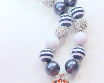 Girls basketball chunky bubblegum necklace  Duke necklace basketball pendant necklace blue and white necklace school spirit