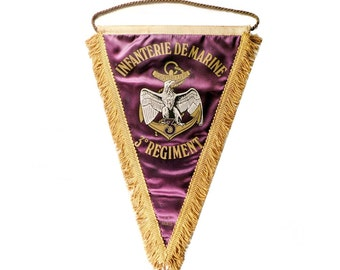 SALE - Original 1970s French 3rd Marine Infantry Regiment Pennant