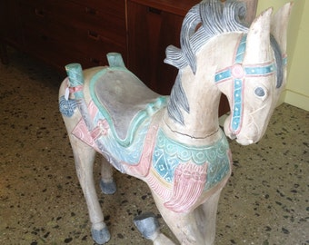 Large Hand Carved Solid Wood Carousel Type Horse