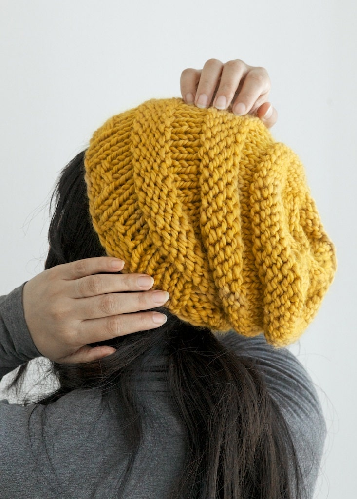 Knitting Pattern For Beanie : Knit beanie hat slouchy beanie toque in by PikaPikaCreative