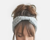 Grey Winter Headband, Womens Wool Turban, Boho Winter Headband, Warm Knit Head Wrap, Hand Knit Headband, Custom Colours