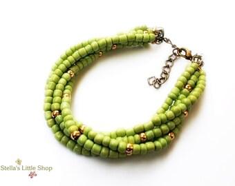 Beaded Bracelet, 5 Strand Bracelet, Green Bracelet, Pink Gold Details, Summer Bracelet, Spring Bracelet, Miyuki Beads, Sweet 16