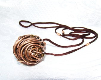 Round copper Necklace, circle necklace, fashion jewelry, copper jewelry, wire wrap, brown , fall gift idea
