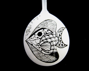 Inked Fish #2 Spoon Doodle Drawing Yewtinsel Spoon Christmas Ornament