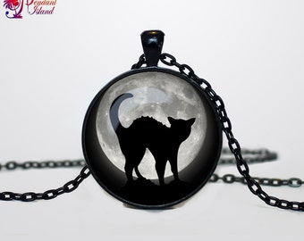 Halloween black cat necklace Halloween cat pendant  Halloween jewelry Trick or Treat Halloween Pendant Halloween  jewelry black grey
