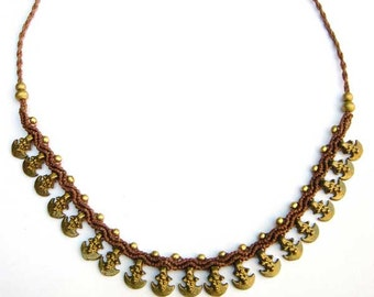 Necklace Brass Macrame Tribal Brown