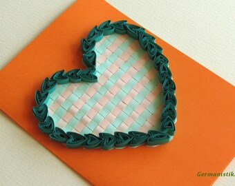 Quilling Love Heart Card, Valentine's Day card, Blank Quilled Heart Card, Romance Quilled Card