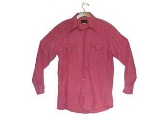 Vintage Western Work Shirt Red Chambray Champion
