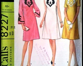 McCall's 8227  Misses Dress in Three Versions With Applique  Size 16  UNCUT
