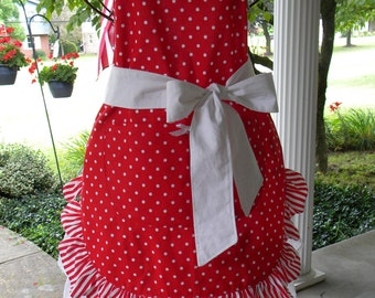 Retro Full Apron, Red Stripes and Dots, Carnival party