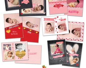 INSTANT DOWNLOAD - Valentine Photoshop Card Templates Bundle - CA438B