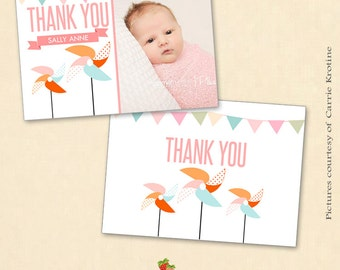 INSTANT DOWNLOAD 5x7 Birth Announcement/ Thank You Card Template - CA342