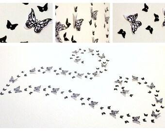 Black Butterfly wall art - Black wall decor - Black home decor - Black wedding - Home decor wall art - unique wall art - 3d butterflies