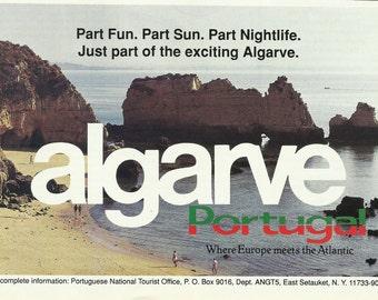 Algarve, Portugal Original 1990 Vintage Ad Color Vacation Photo Rugged Cliffs, Rock Outcrops. Atlantic Ocean, Praia da Marinha {Navy Beach}
