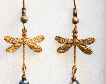 Earrings Brass Dragonfly #B15b