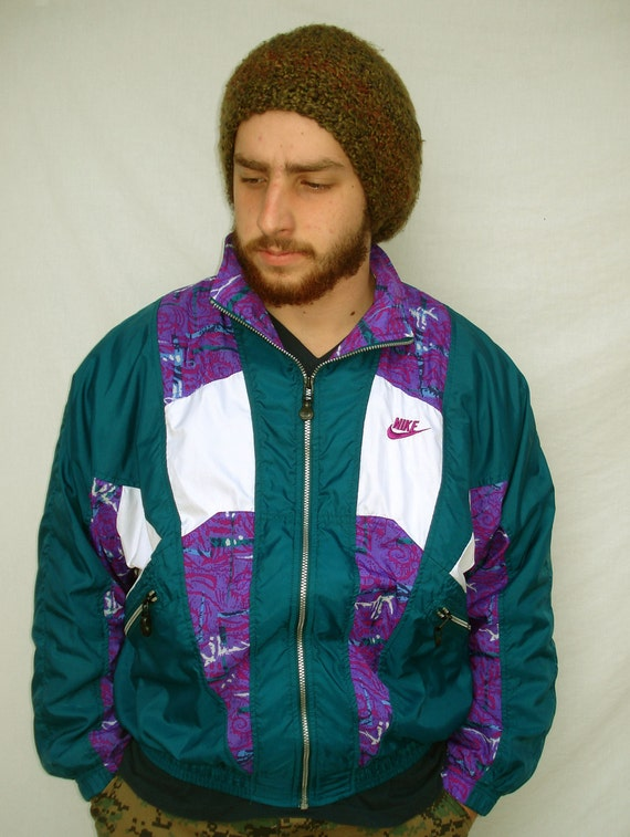 Vintage 90s Nike Windbreaker Jacket Teal Purple by RipCityRetro