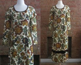 1960s renaissance revival floral maxi dress | Size S