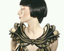 Gaudi shoulder armor bustle burlesque fetish steampunk cosplay gold corset futuristic cybergoth lady gaga armour metal metallic hip piece