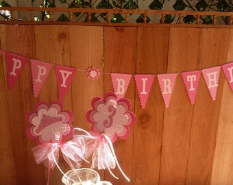Pretty Pink Happy Birthday Banner, Birthday Party Decoration, Birthday Girl, Princess Party