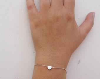 Silver Heart Bracelet, Dainty Bracelet, Silver Bracelet, Friendship Bracelet, Love Bracelet, Heart Jewelry