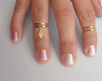4 Above the Knuckle Rings - Plain Band Knuckle Rings, midi rings with gold hamsa hand sign - Set of 4 midi rings, unique gift