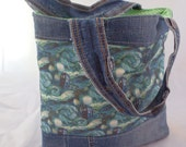 Dr Who Tote Repurposed Denim Jeans and Cotton, Police Box and Starry Starry Night, Oma Tote, one of a kind green and blue