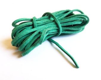 SALE - Green Suede Cord - 3mm - 15 Ft / 4.5 Meter - bracelet / necklace