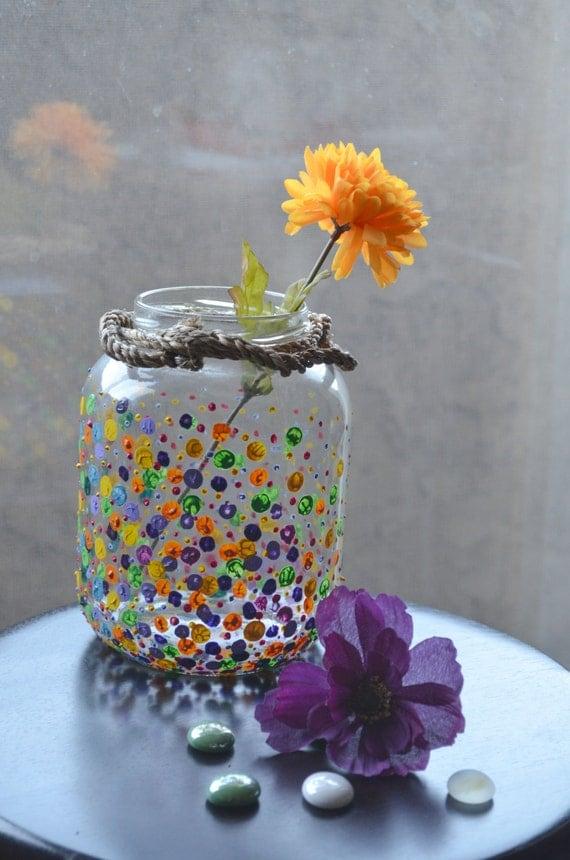Colorful Painted Glass Vase Polka Dot Design Vase Shabby