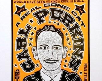 Carl Perkins True King of Rockabilly Hand Printed Letterpress Poster