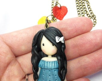 Blue Doll Necklace (Gorgeous) - Handmade in Polymer Clay