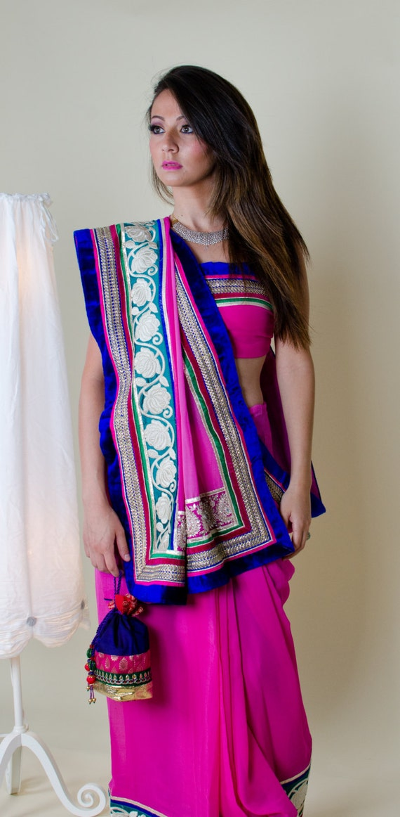 Pink Chiffon Indian Saree Big Border Blue Velvet And Green