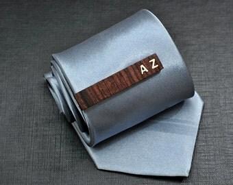 PINCE à cravate personnalisée - Fine palissandre avec initiales incrustation OS personnalisé.
