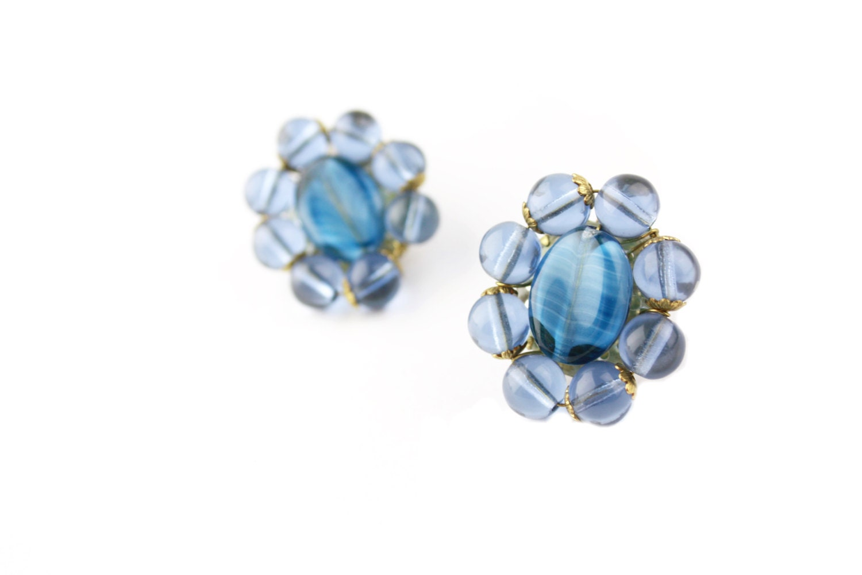blue glass beaded clip on earrings west germany mid century